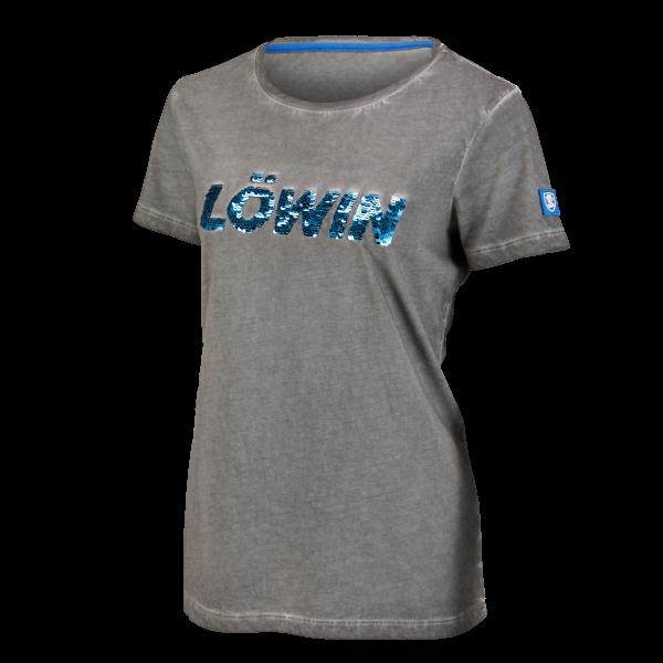 Löwen Damen-Shirt Pailletten