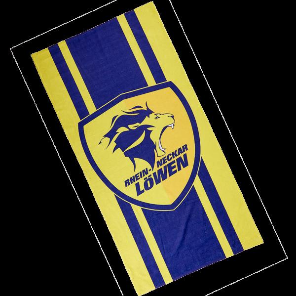 Löwen Strandtuch gelb-blau 70x140