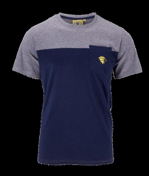 "Löwen Shirt ""Löwenkopf"" grau-blau"
